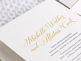Simple and elegant designs letterpress printed for a timeless look