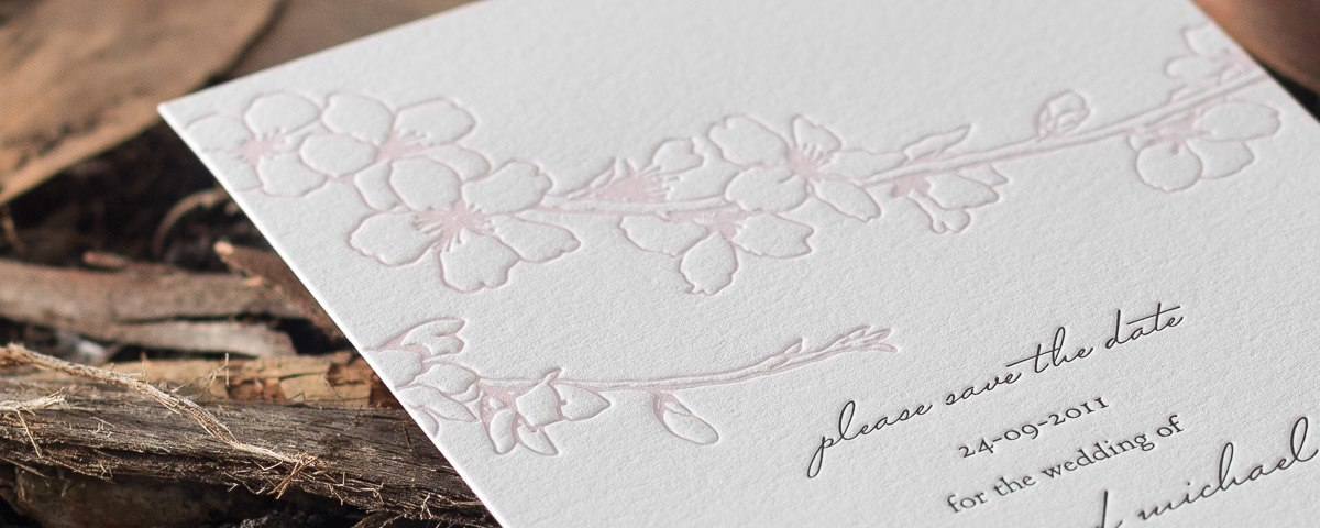 Kate | Spring blossoms wedding invitation design by Deciduous press