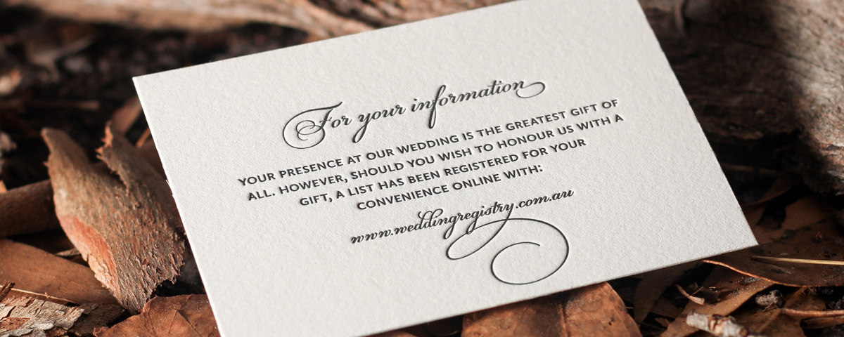 Wedding Gift Card Text : Letterpress wedding gift card with flourished text