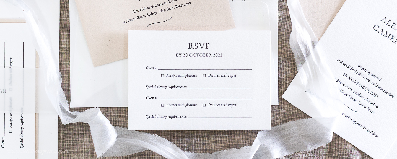 Response card for letterpress wedding invitation example wording