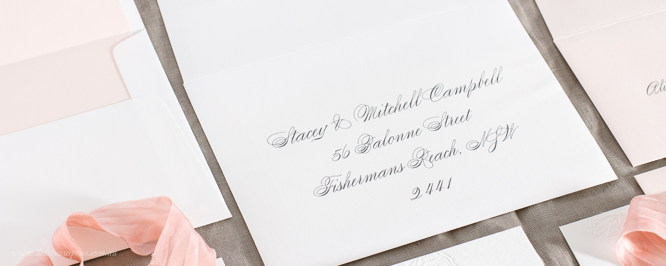 Letterpress wedding invitation with delivery address printing