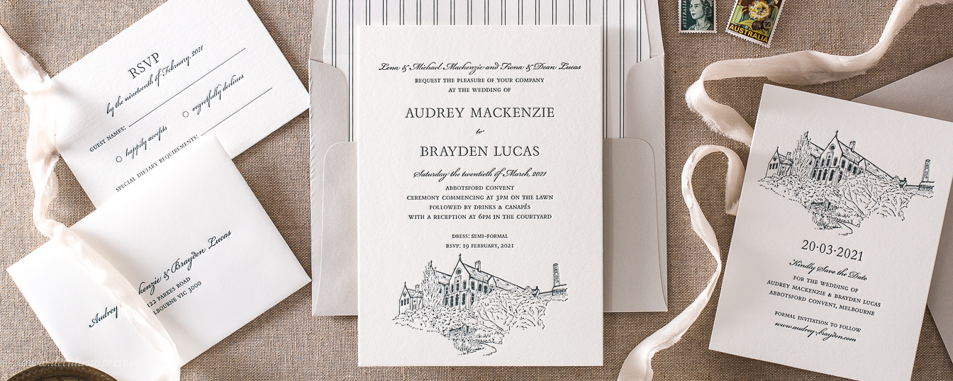 Custom wedding venue illustration Letterpress wedding invitation