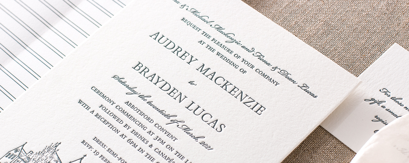 Detail of custom wedding venue illustration Letterpress wedding invitation