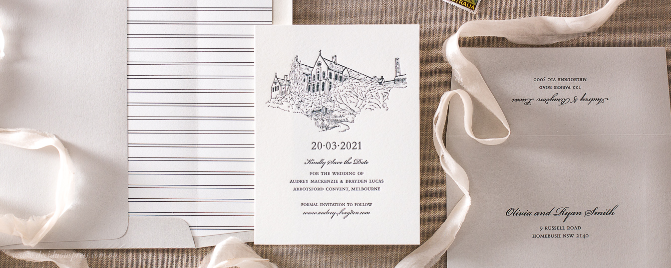 Custom wedding venue save the date wedding invitation letterpress