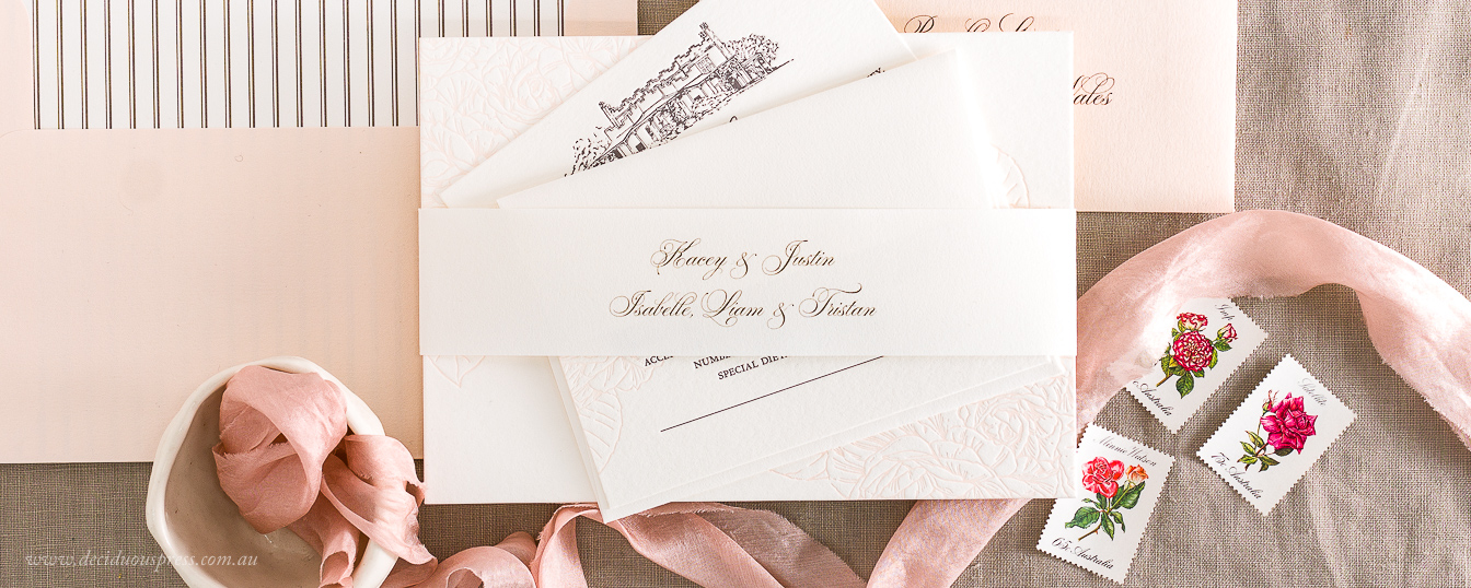 Invitation envelope with pink envelope liner