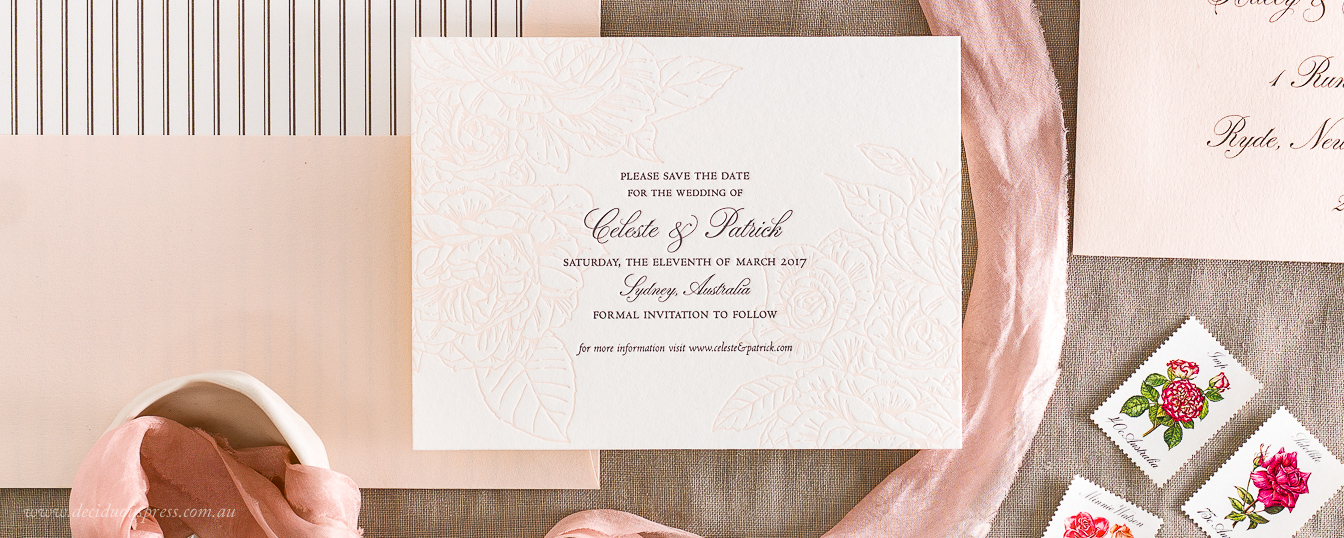 Save the date floral roses design with vintage text