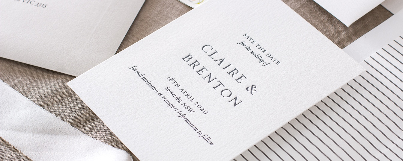 Save the date classic design with names in capitals