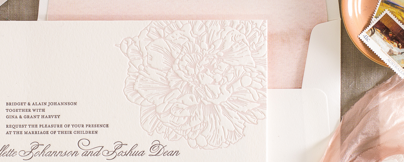 Beautiful peony flower Letterpress wedding invitation for spring or summer