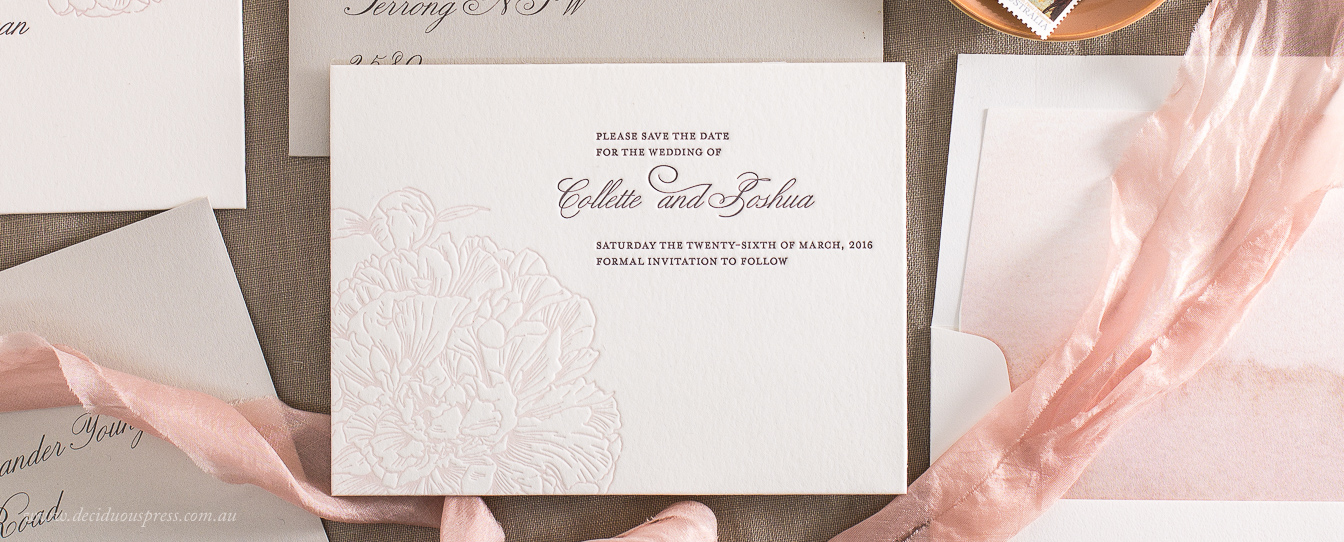 Beautiful peony flower drawing on a Letterpress wedding save the date