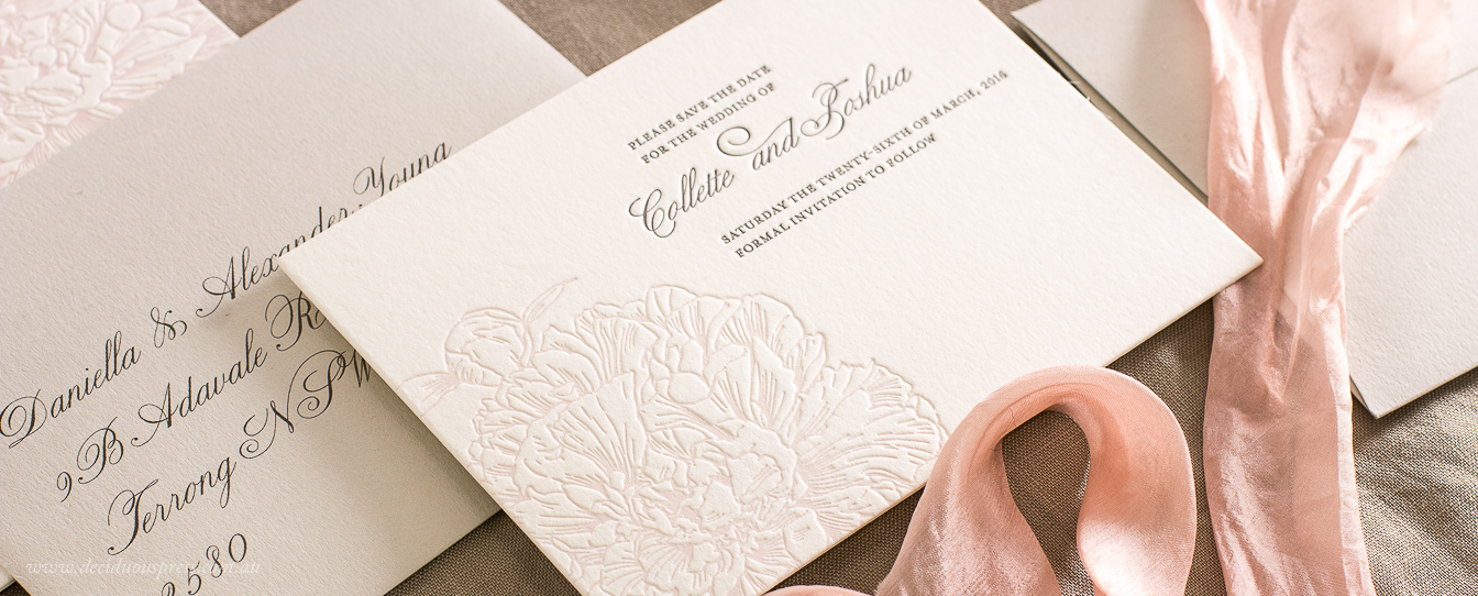 Beautiful peony flower illustration on a Letterpress wedding save the date