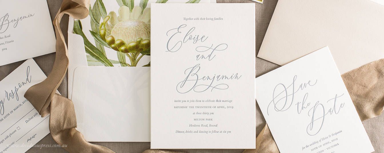 Elegant calligraphy wedding invitation grey ink
