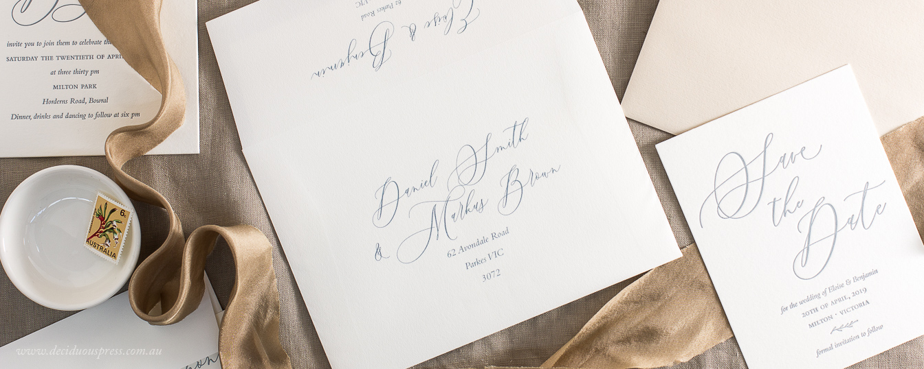 Protea wedding invitation envelope liner