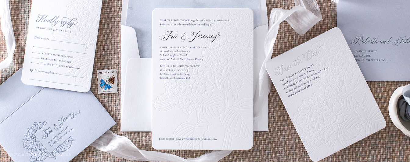 Beautiful Hydrangea flower Letterpress wedding invitation