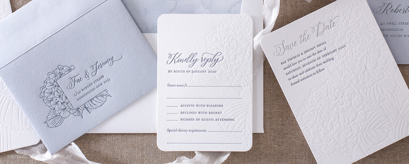 Digital calligraphy for letterpress wedding invitation envelope