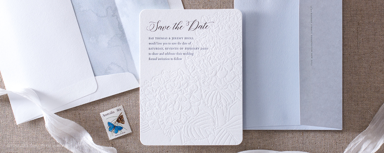 Hydrangea response card envelope wedding invitation