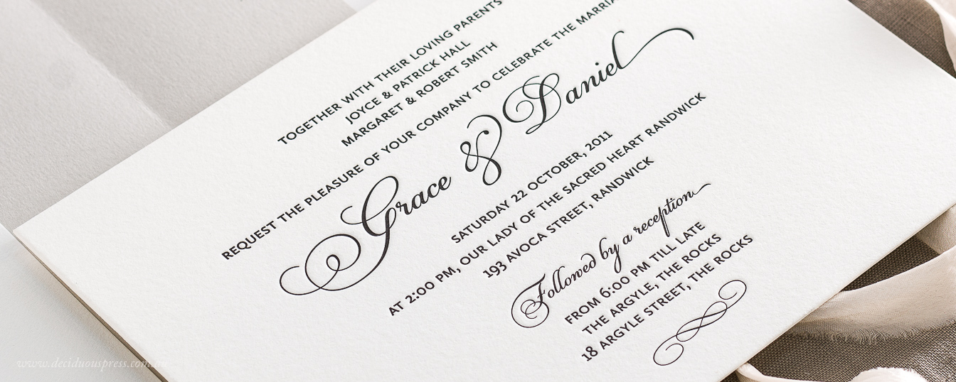 Simple and Classic wedding invitation Letterpress printed