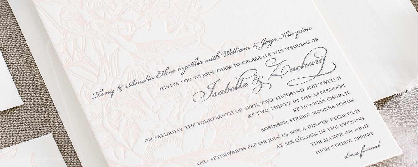 Letterpress wedding invitation floral design peonies