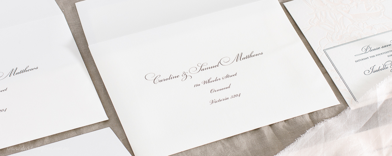 Plain band printed with guest names wedding invitation