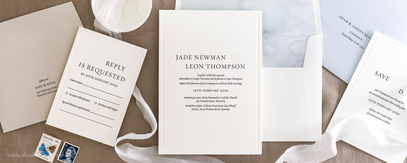 Letterpress invitation with classic fonts and border