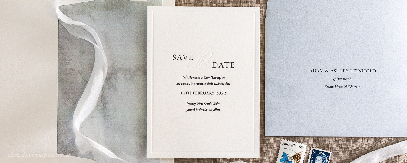 Save the date with border, contemporary, elegant letterpress wedding design