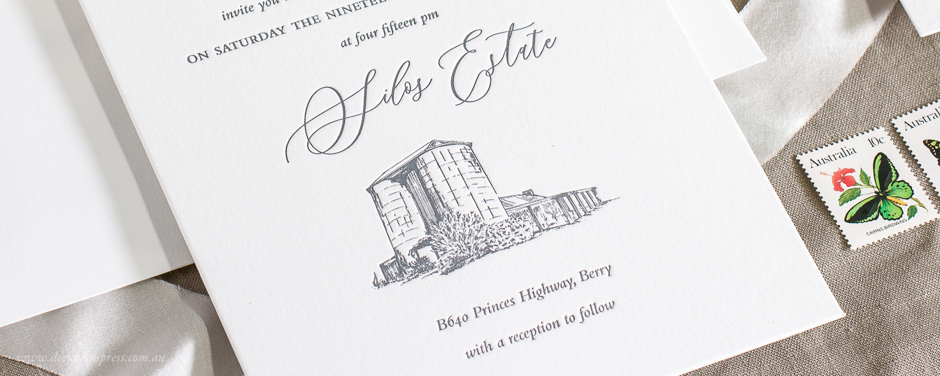 Letterpress wedding invitation with custom venue illustration