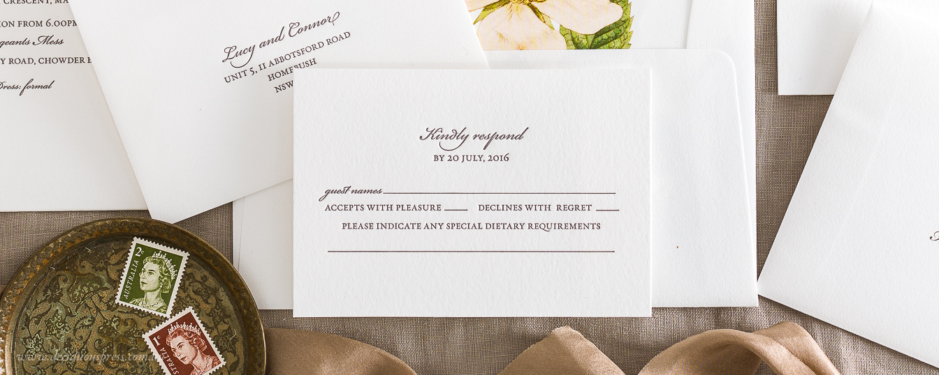 Letterpress response card for wedding invitation
