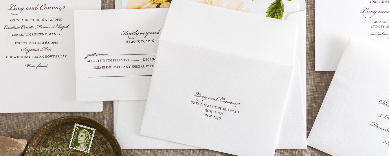 White letterpress response card envelope for wedding invitation