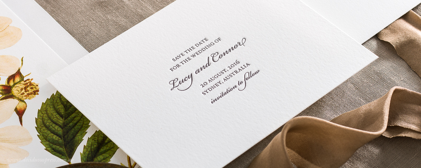 Letterpress save the date beautiful typography