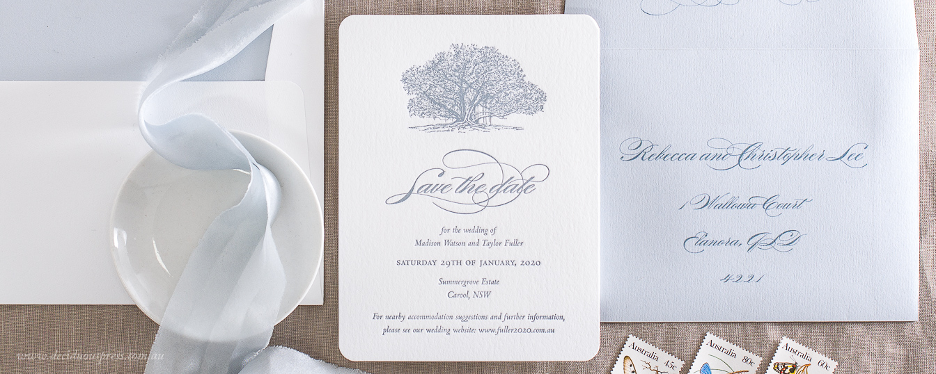 Save the date with Fig tree illustration