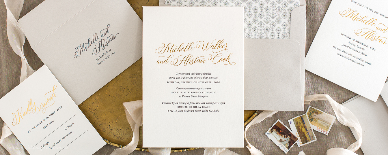 Classic elegant wedding invitation with gold foil letterpress