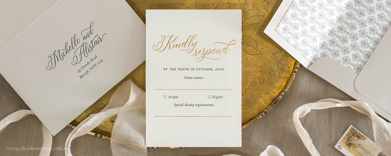 Response card for letterpress wedding invitation with Gold foil