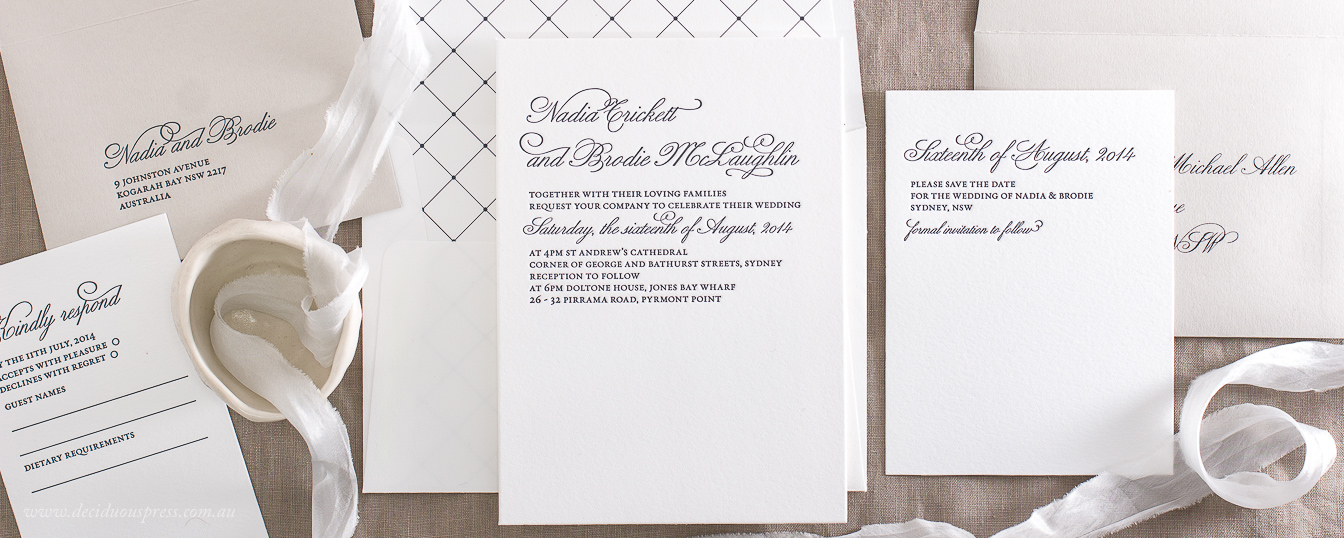 Classic Letterpress wedding invitation beautiful script calligraphy, shades of grey and white