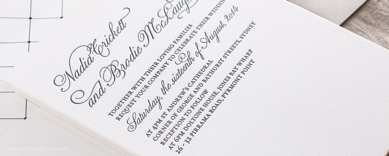 Simple classic wedding invitation design letterpress printed