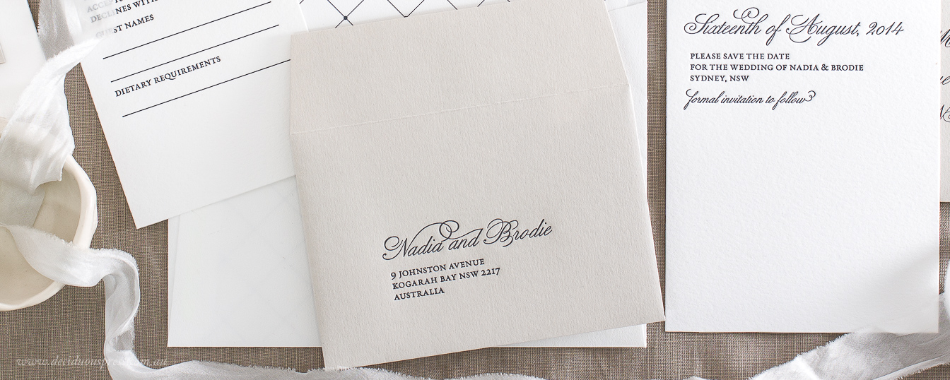 Simple Letterpress wedding invitation RSVP card