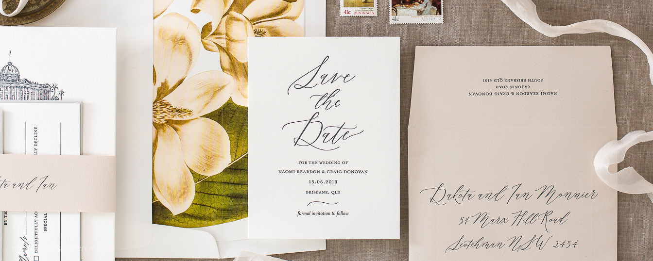 Save the date calligraphy, contemporary, elegant letterpress wedding design