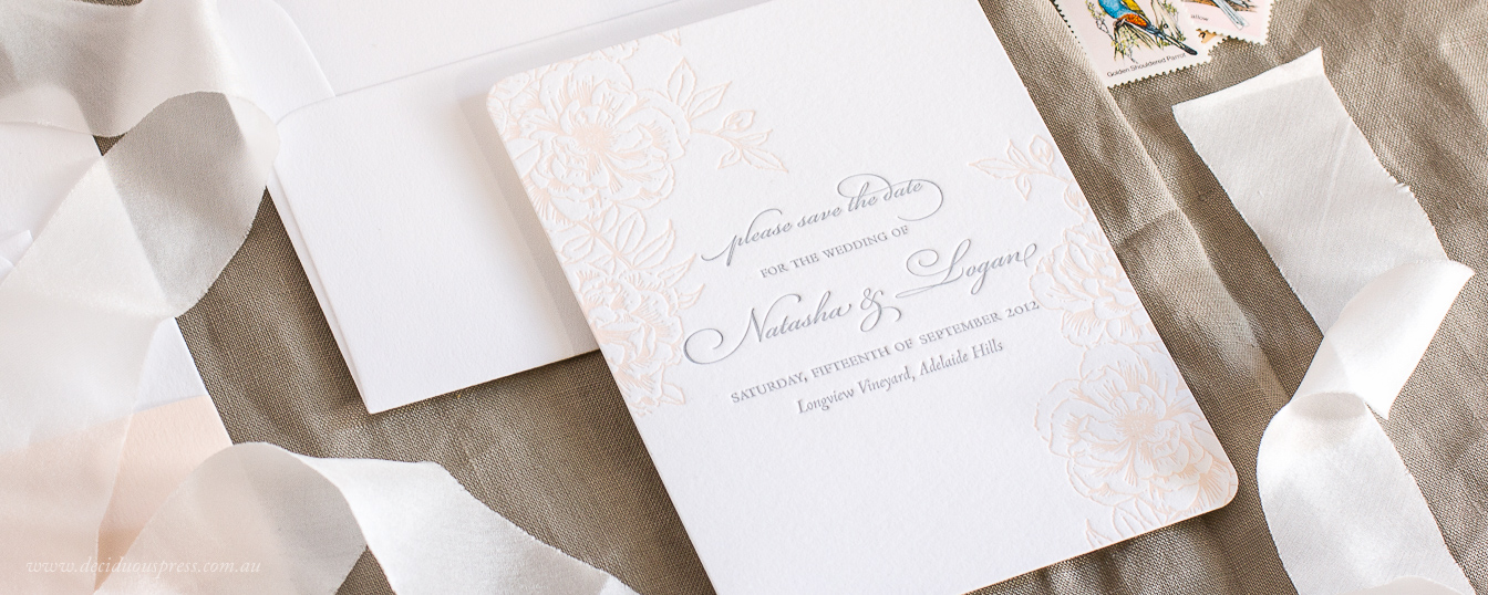 Save the date floral design with vintage roses