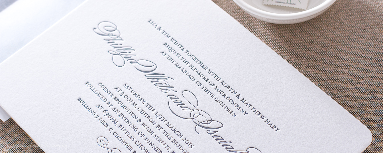 Classic wedding invitation design with rounded corners letterpress