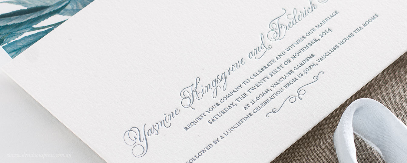 Chic letterpress wedding invitation with simple wording