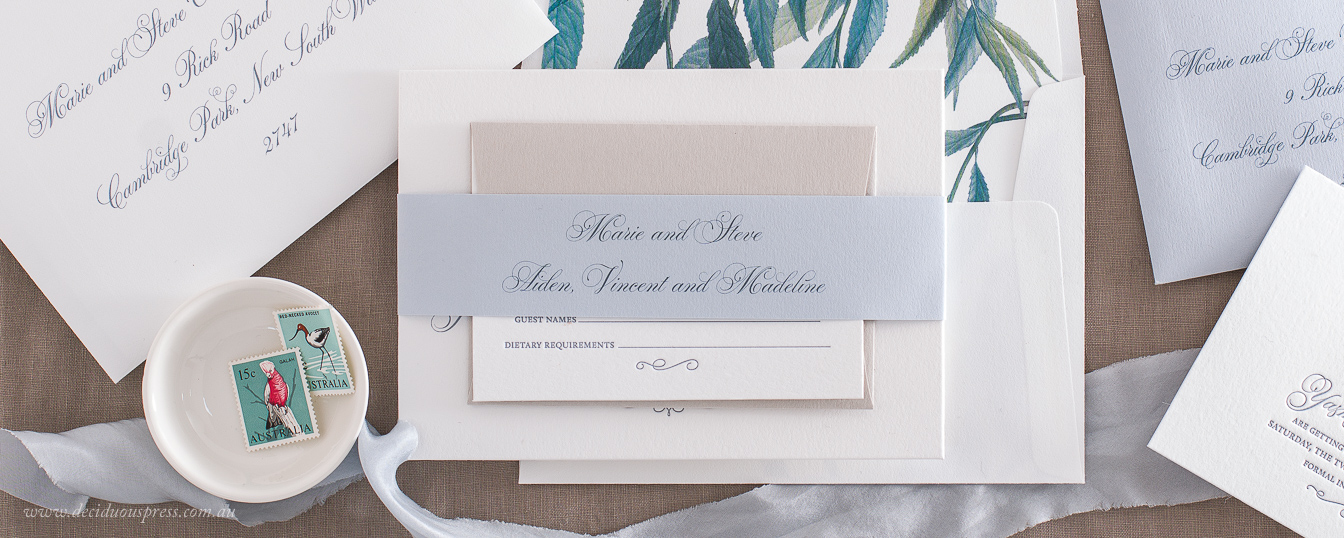Blue envelope liner wedding invitation