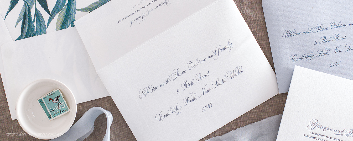 Letterpress wedding response envelope delivery address printing