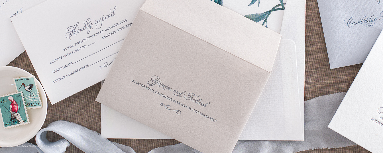 Letterpress printed wedding rsvp card response card