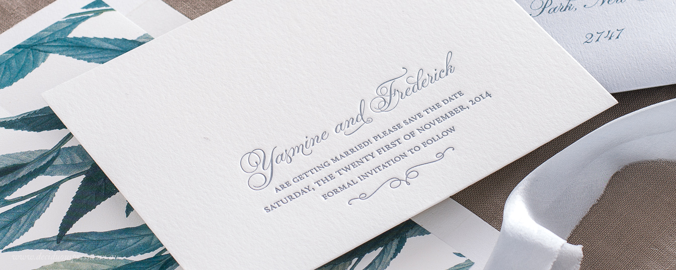 Elegant save the date contemporary wedding